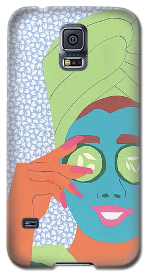Face Galaxy S5 Case featuring the mixed media Facial Masque by Debra Bretton Robinson