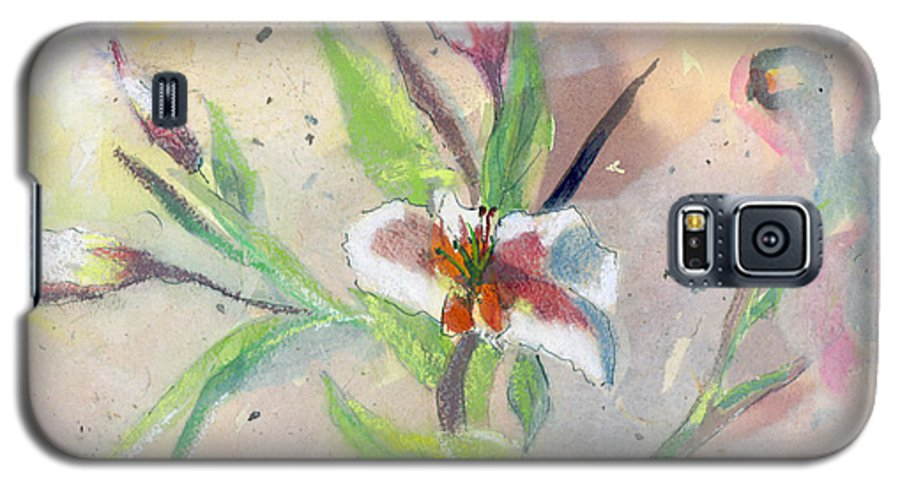 Flower Galaxy S5 Case featuring the painting Faded Lilies by Arline Wagner