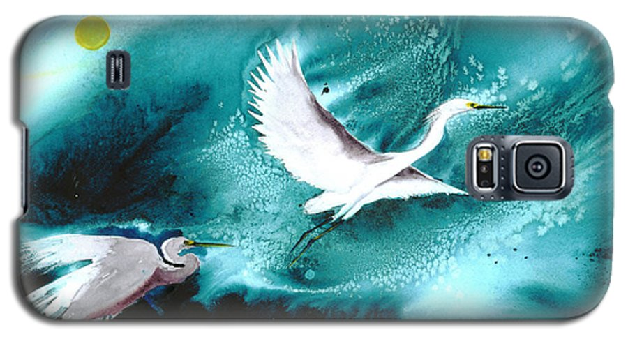 A Pair Of Egrets By The Water At Night- A Watercolor Painting Galaxy S5 Case featuring the painting Fairies by Mui-Joo Wee