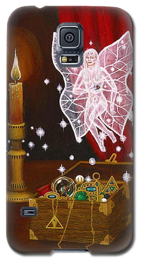 Fairy Galaxy S5 Case featuring the painting Fairy Treasure by Roz Eve