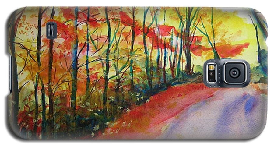Abstract Landscape Galaxy S5 Case featuring the painting Fall Abstract by Lizzy Forrester