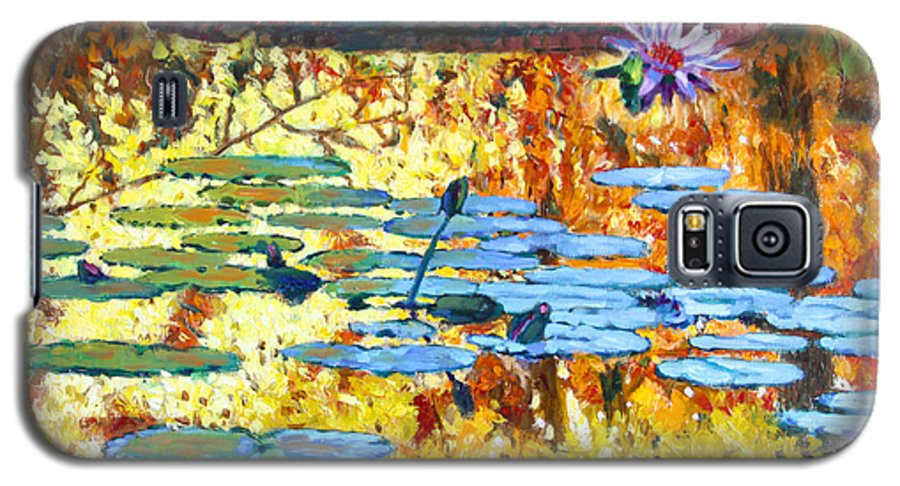 Fall Galaxy S5 Case featuring the painting Fall Colors On The Lily Pond by John Lautermilch