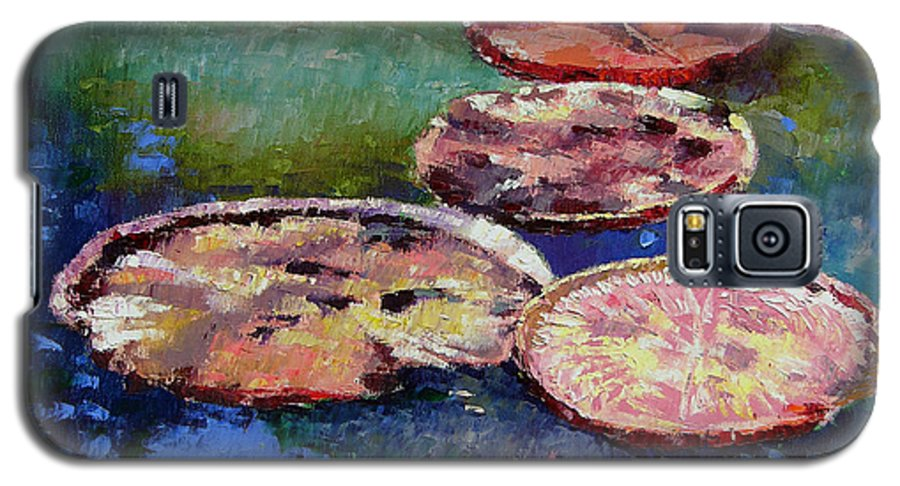 Fall Water Lilies Galaxy S5 Case featuring the painting Fall Colors On The Pond by John Lautermilch
