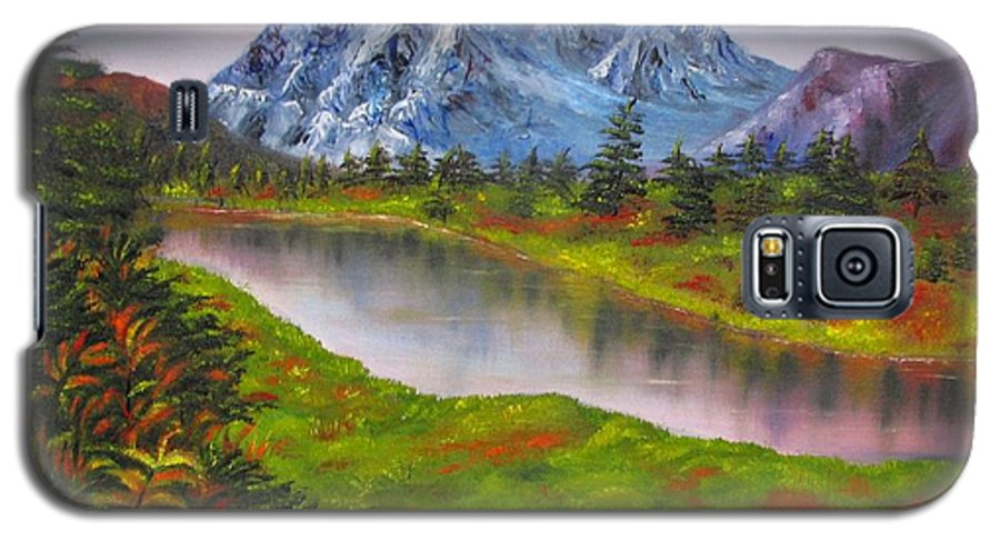 Fall Galaxy S5 Case featuring the painting Fall In Mountains Landscape Oil Painting by Natalja Picugina
