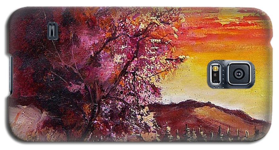 Autumn Galaxy S5 Case featuring the painting Fall In Villers by Pol Ledent
