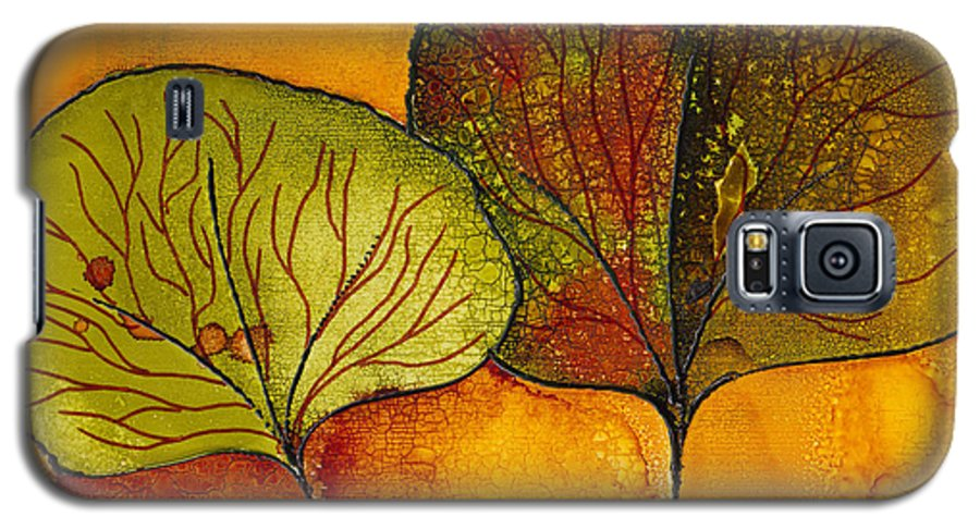 Leaf Galaxy S5 Case featuring the painting Fall Leaves by Susan Kubes