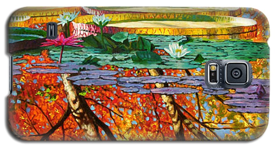 Garden Pond Galaxy S5 Case featuring the painting Fall Reflections 2 by John Lautermilch