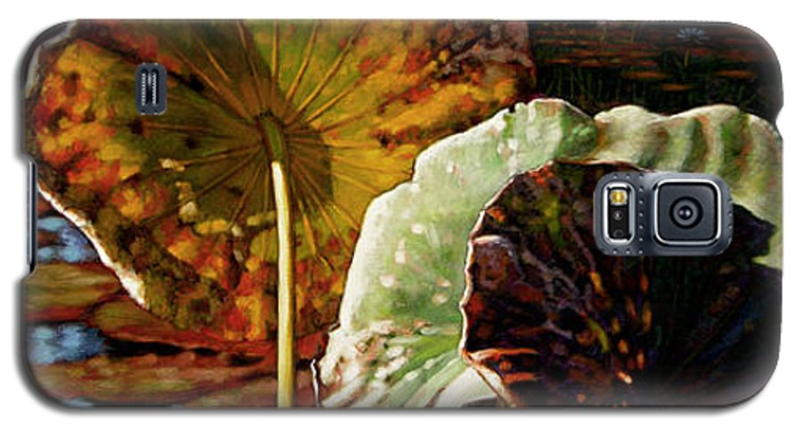 Fall Leaves Galaxy S5 Case featuring the painting Fall Trinity by John Lautermilch