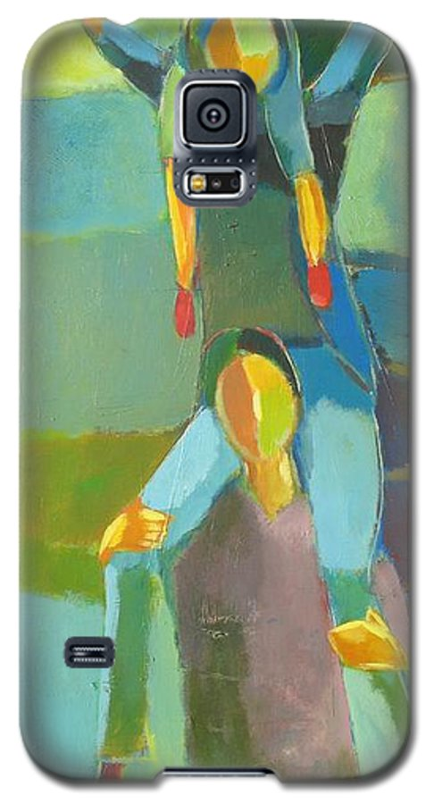 Abstract Galaxy S5 Case featuring the painting Family Joy by Habib Ayat