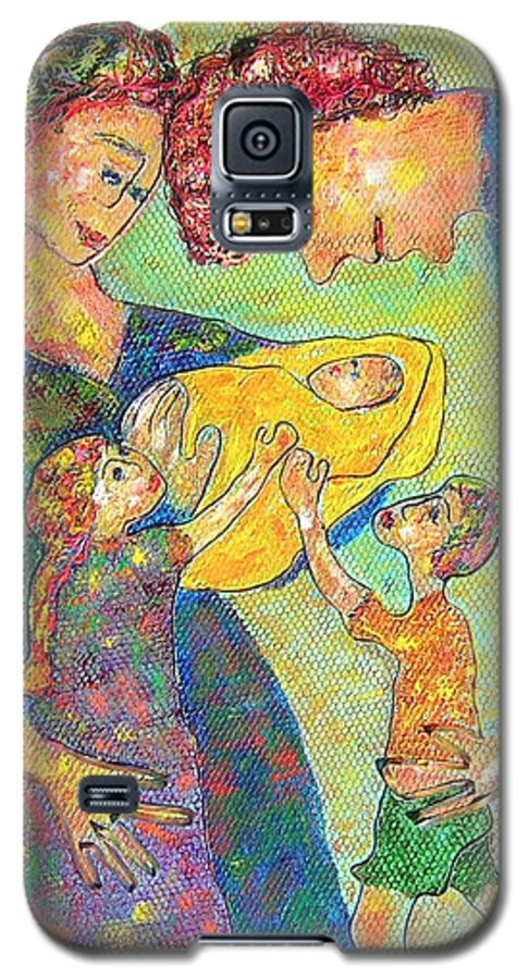 Family Enjoying Each Other Galaxy S5 Case featuring the painting Family Matters by Naomi Gerrard