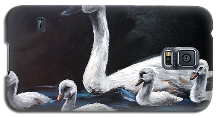 Swan Galaxy S5 Case featuring the painting Family Of Swans by Maryn Crawford