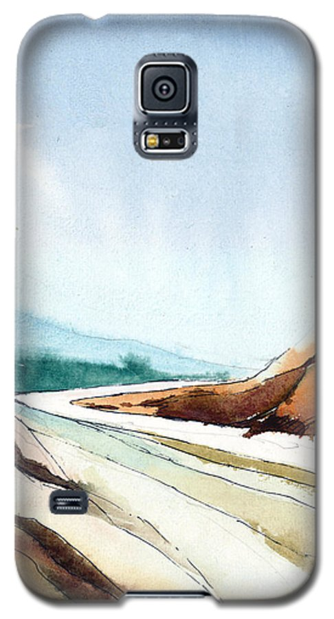 Landscape Galaxy S5 Case featuring the painting Far Away by Anil Nene