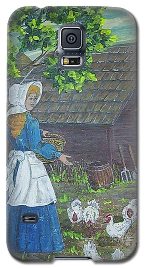 Barn Galaxy S5 Case featuring the painting Farm Work I by Phyllis Mae Richardson Fisher