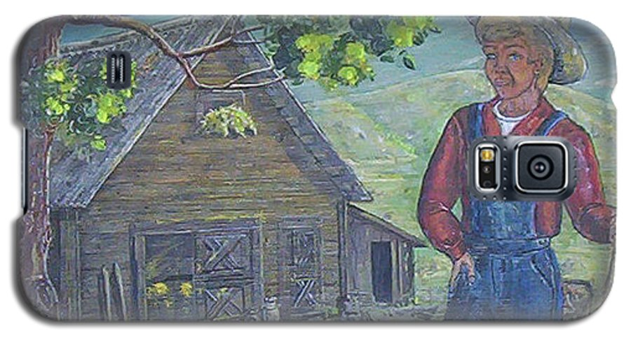 Barn Galaxy S5 Case featuring the painting Farm Work II by Phyllis Mae Richardson Fisher