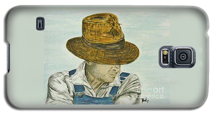 Portrait Galaxy S5 Case featuring the painting Farmer Ted by Regan J Smith
