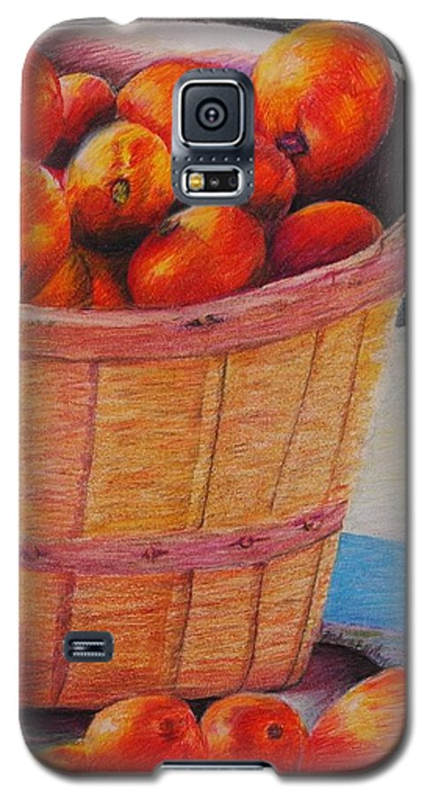 Produce In A Basket Galaxy S5 Case featuring the drawing Farmers Market Produce by Nadine Rippelmeyer