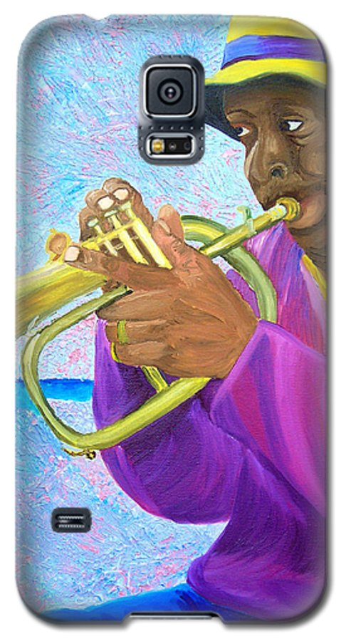 Street Musician Galaxy S5 Case featuring the painting Fat Albert Plays The Trumpet by Michael Lee
