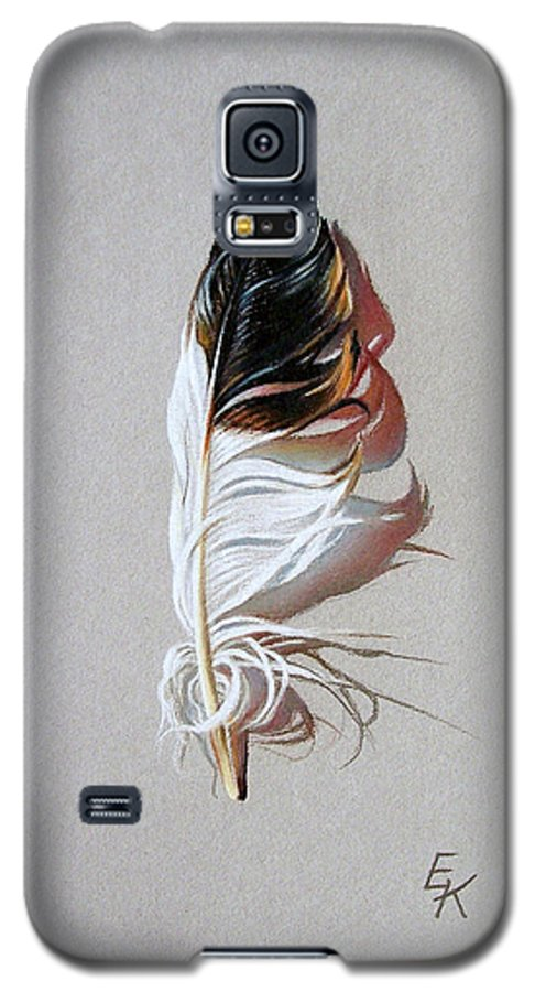 Still Life Feather Galaxy S5 Case featuring the drawing Feather And Shadow 3 by Elena Kolotusha