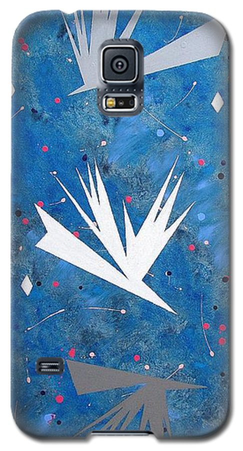 Birds And Diamond Stars Galaxy S5 Case featuring the painting Feeding Frenzy by J R Seymour