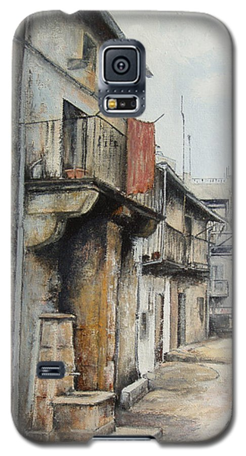 Fermoselle Zamora Spain Oil Painting City Scapes Urban Art Galaxy S5 Case featuring the painting Fermoselle by Tomas Castano