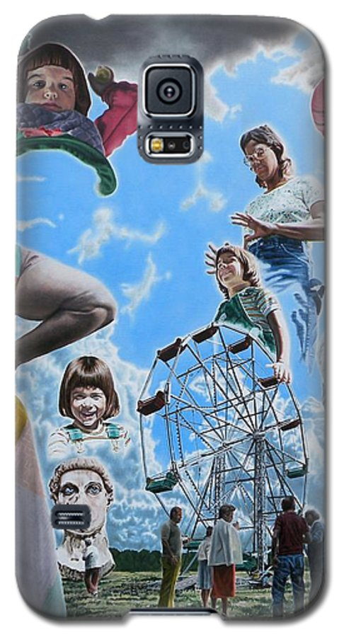 Woman Galaxy S5 Case featuring the painting Ferris Wheel by Dave Martsolf