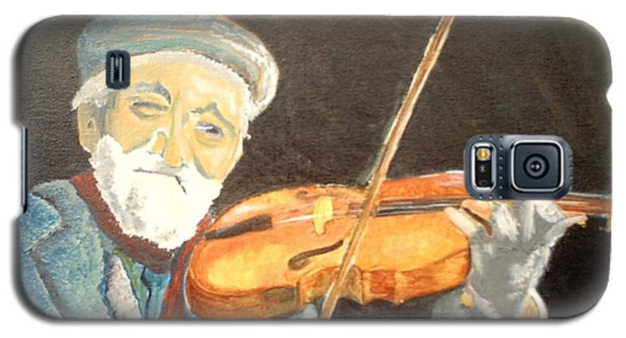 Hungry He Plays For His Supper Galaxy S5 Case featuring the painting Fiddler Blue by J Bauer