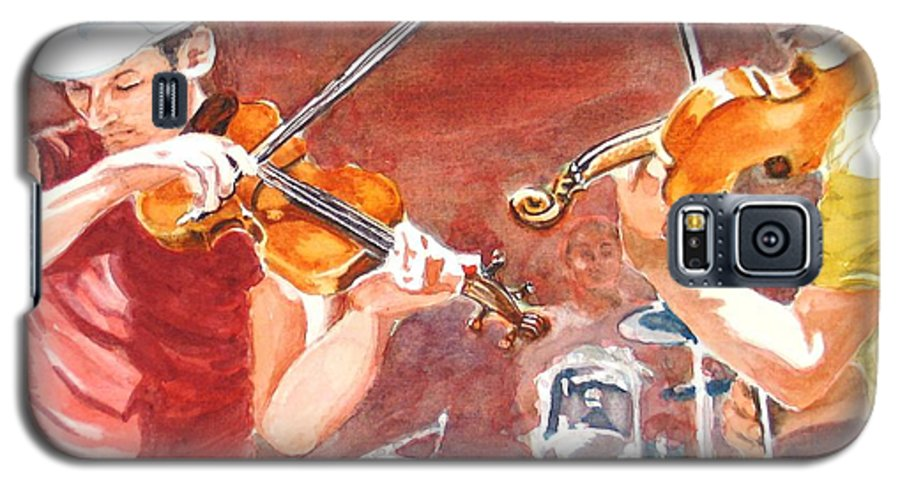 Musicians Galaxy S5 Case featuring the painting Fiddles by Karen Ilari
