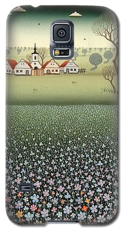 Landscape Galaxy S5 Case featuring the painting Field Of Wildflowers by Ferenc Pataki