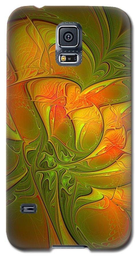 Digital Art Galaxy S5 Case featuring the digital art Fiery Glow by Amanda Moore