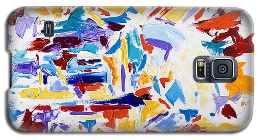 Abstract Yellow Galaxy S5 Case featuring the painting Fiesta by Shannon Grissom