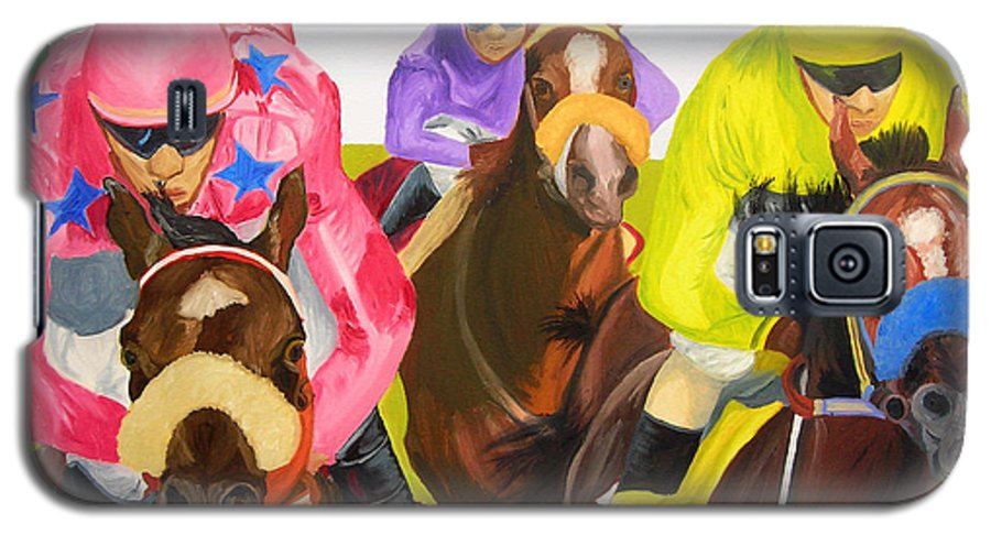 Horse Racing Galaxy S5 Case featuring the painting Finish Line by Michael Lee