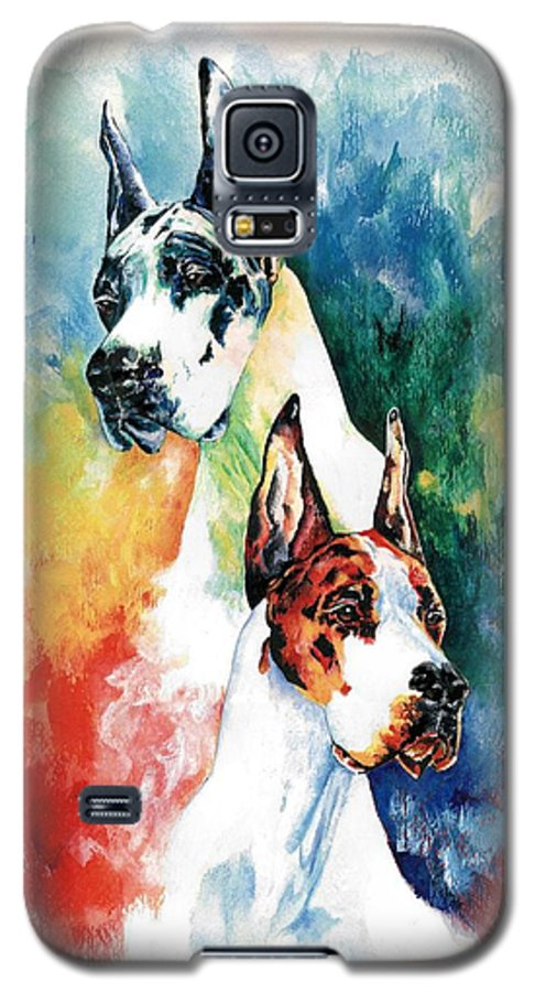 Great Dane Galaxy S5 Case featuring the painting Fire And Ice by Kathleen Sepulveda