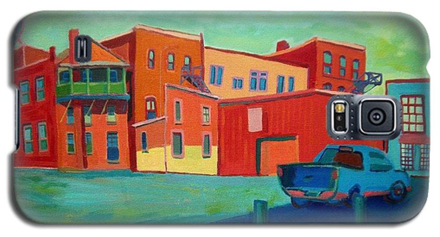 Cityscape Galaxy S5 Case featuring the painting Fire Escapes In Burlington by Debra Bretton Robinson