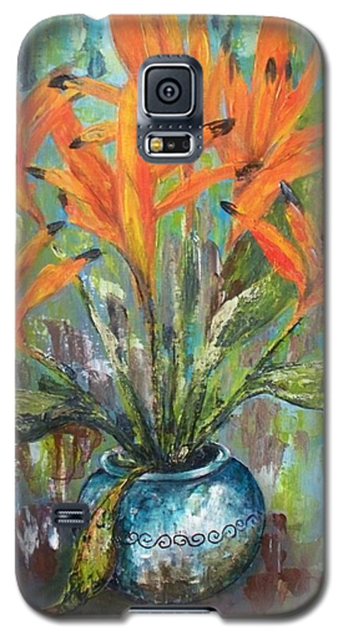Galaxy S5 Case featuring the painting Fire Flowers by Carol P Kingsley