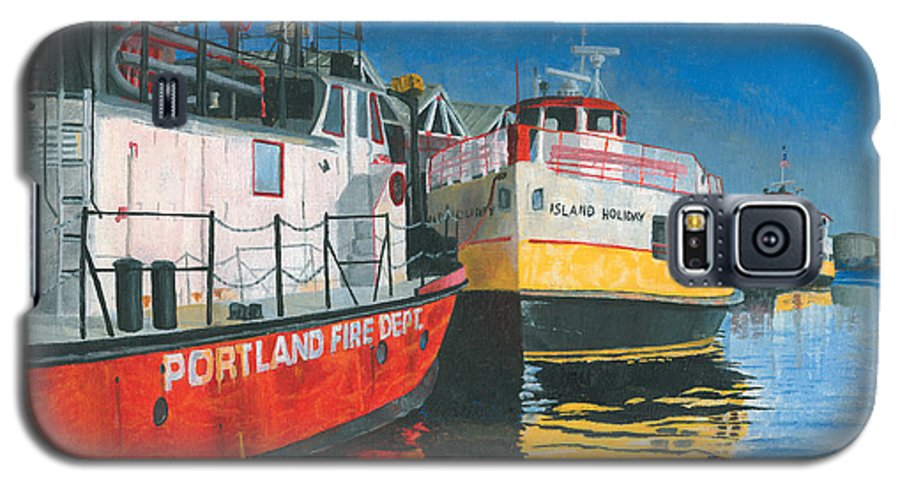 Fireboat Galaxy S5 Case featuring the painting Fireboat And Ferries by Dominic White