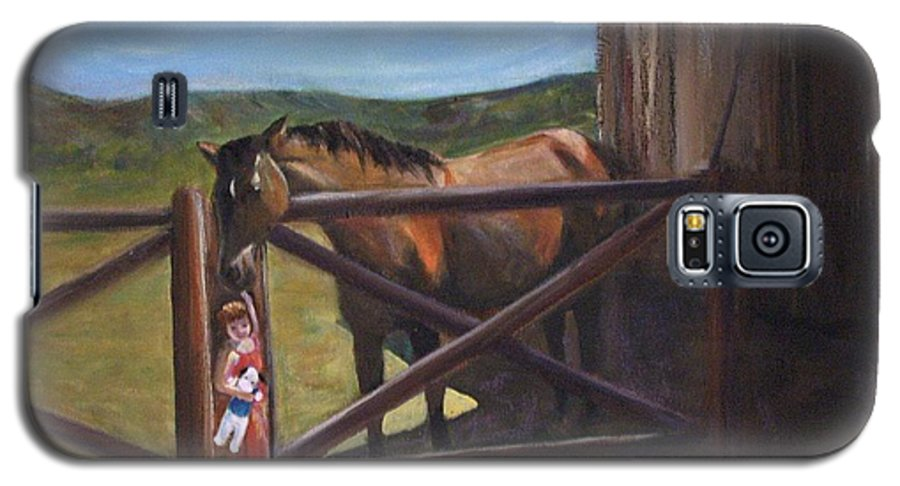 Horse Galaxy S5 Case featuring the painting First Love by Darla Joy Johnson
