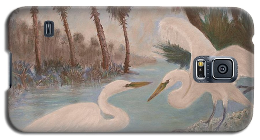 Egret Galaxy S5 Case featuring the painting First Meeting by Ben Kiger