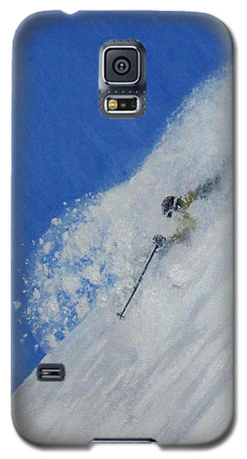 Ski Galaxy S5 Case featuring the painting First by Michael Cuozzo