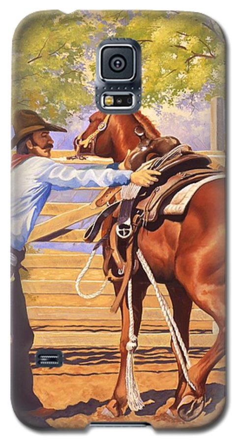 Cowboy Galaxy S5 Case featuring the painting First Saddling by Howard Dubois