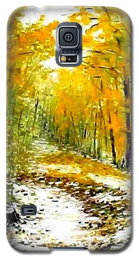 Landscape Galaxy S5 Case featuring the painting First Snow by Boris Garibyan