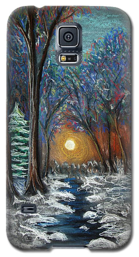 Snow Galaxy S5 Case featuring the pastel First Snow by Nancy Mueller