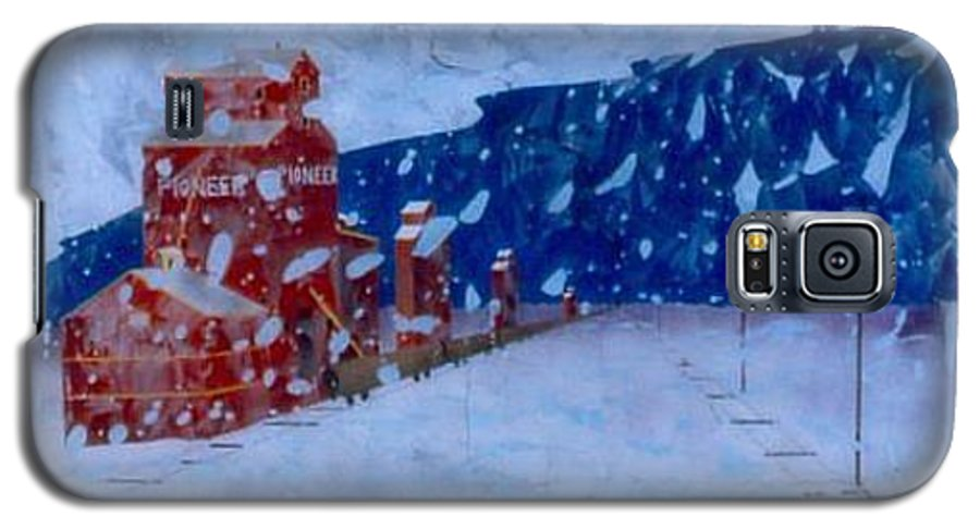 Landscape Galaxy S5 Case featuring the painting First Snow by Rick Silas