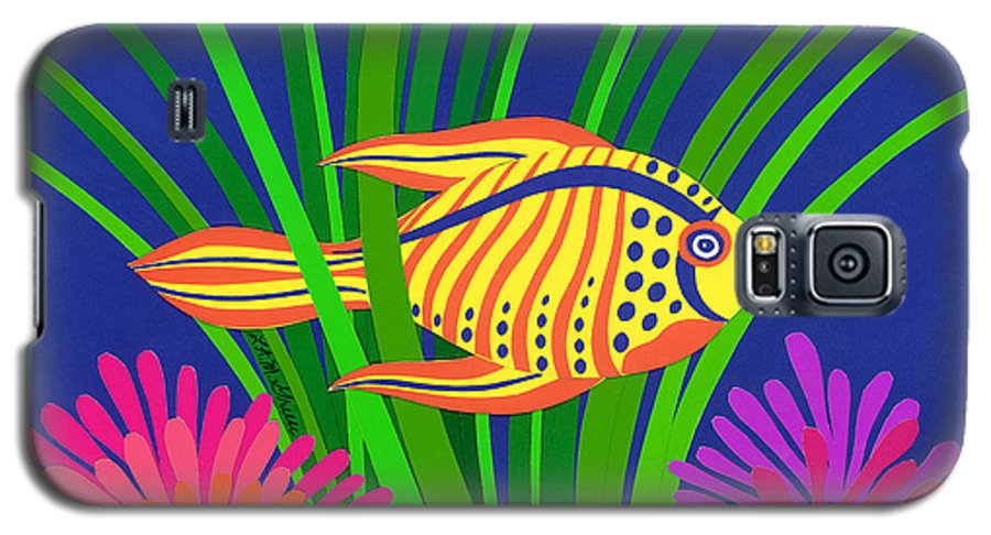 Nature Galaxy S5 Case featuring the drawing Fish by Lucyna A M Green