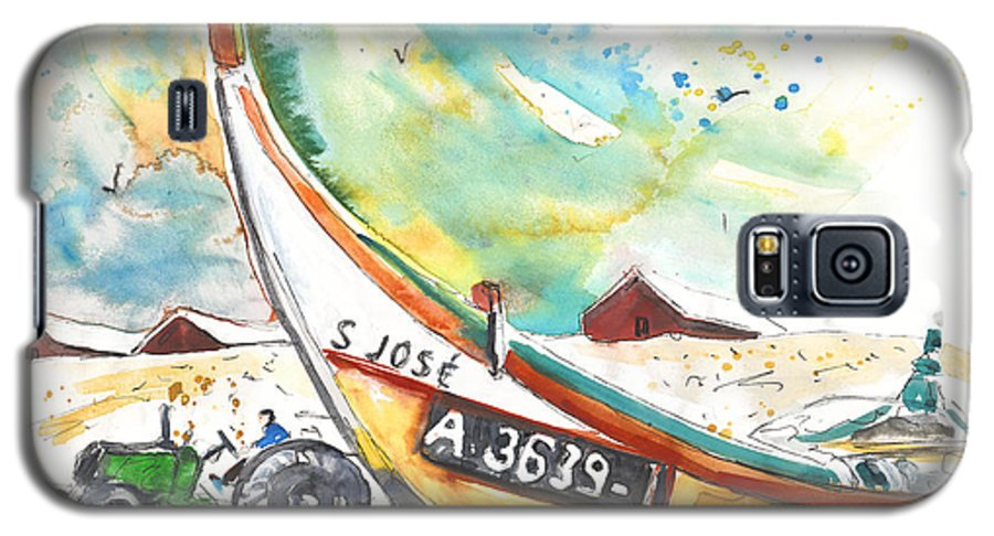 Portugal Galaxy S5 Case featuring the painting Fisherboat In Praia De Mira by Miki De Goodaboom