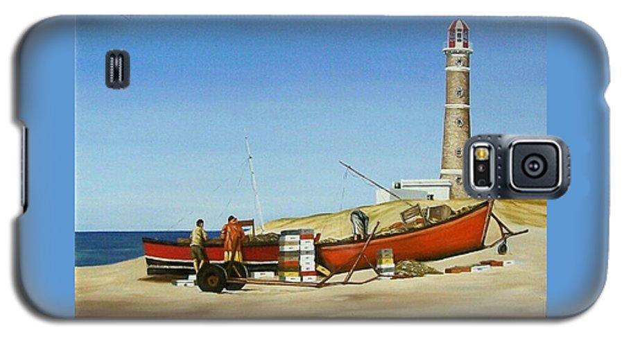 Lighthouse Fishermen Sea Seascape Galaxy S5 Case featuring the painting Fishermen By Lighthouse by Natalia Tejera