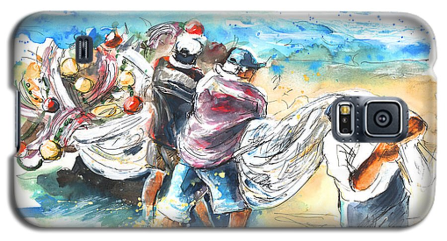 Portugal Galaxy S5 Case featuring the painting Fishermen In Praia De Mira by Miki De Goodaboom
