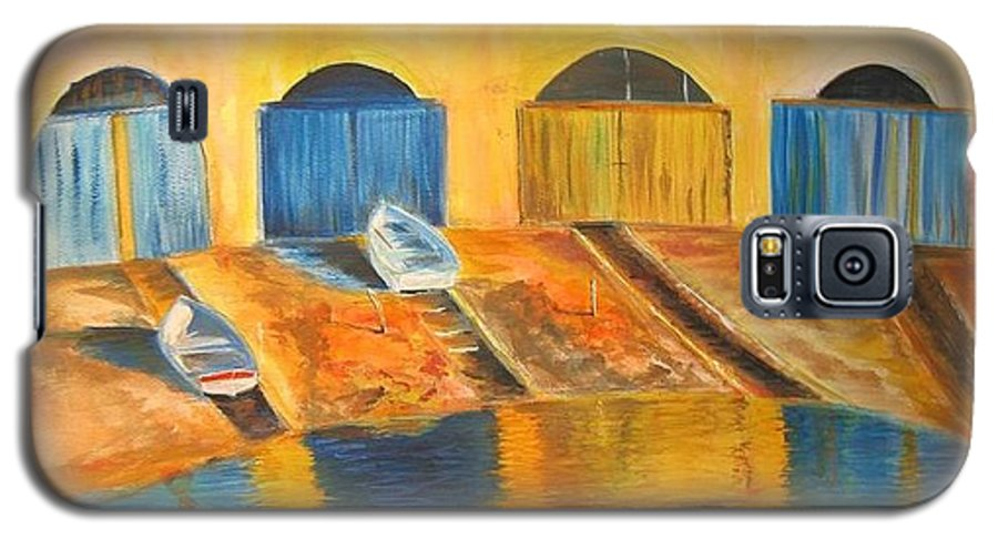 Boats Galaxy S5 Case featuring the painting Fishermens Boats At Sundown by Lizzy Forrester