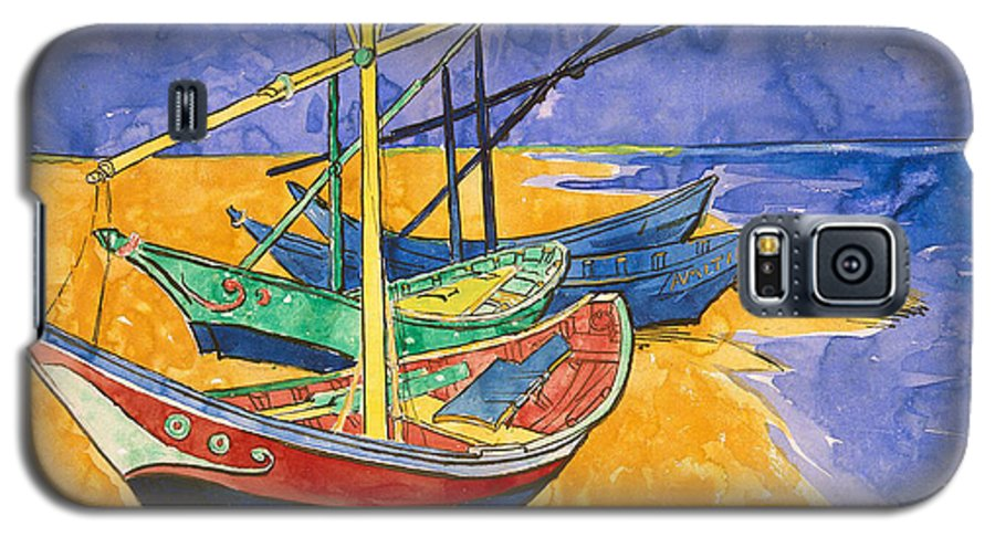 Fishing Galaxy S5 Case featuring the painting Fishing Boats On The Beach At Saintes Maries De La Mer by Vincent Van Gogh