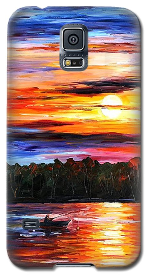 Seascape Galaxy S5 Case featuring the painting Fishing By The Sunset by Leonid Afremov