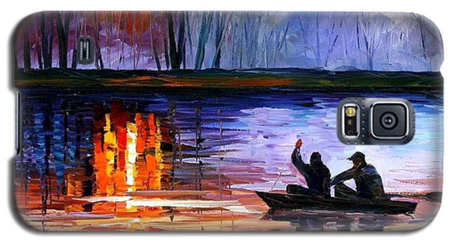 Seascape Galaxy S5 Case featuring the painting Fishing On The Lake by Leonid Afremov